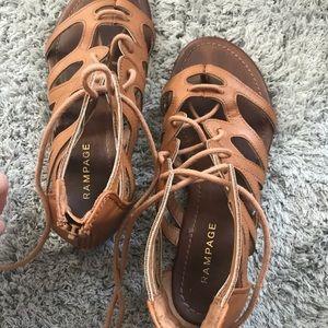brown tie up sandals